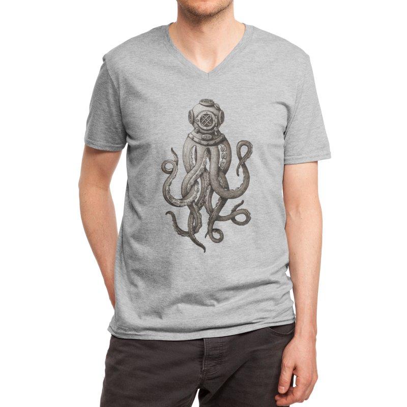Retro SCUBA Diver Weird Octopus Men's V-Neck by Designsonoma's Artist Shop
