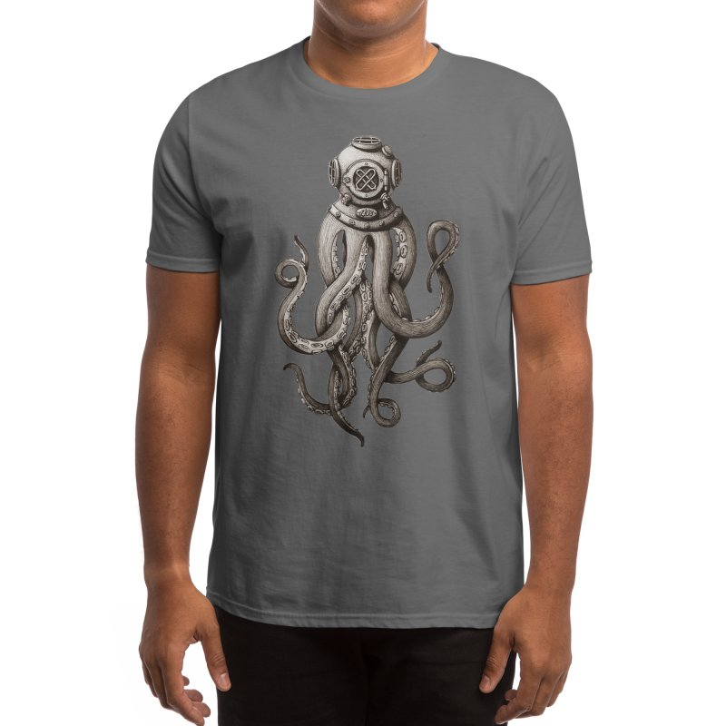 Retro SCUBA Diver Weird Octopus Men's T-Shirt by Designsonoma's Artist Shop