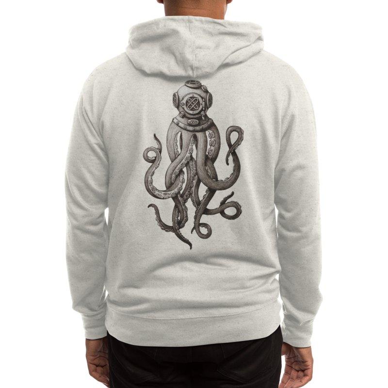 Retro SCUBA Diver Weird Octopus Men's Zip-Up Hoody by Designsonoma's Artist Shop