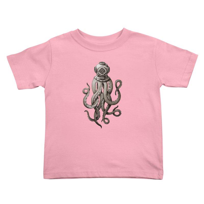 Retro SCUBA Diver Weird Octopus Kids Toddler T-Shirt by Designsonoma's Artist Shop