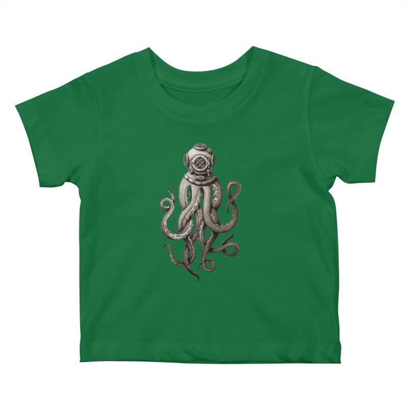 Retro SCUBA Diver Weird Octopus Kids Baby T-Shirt by Designsonoma's Artist Shop