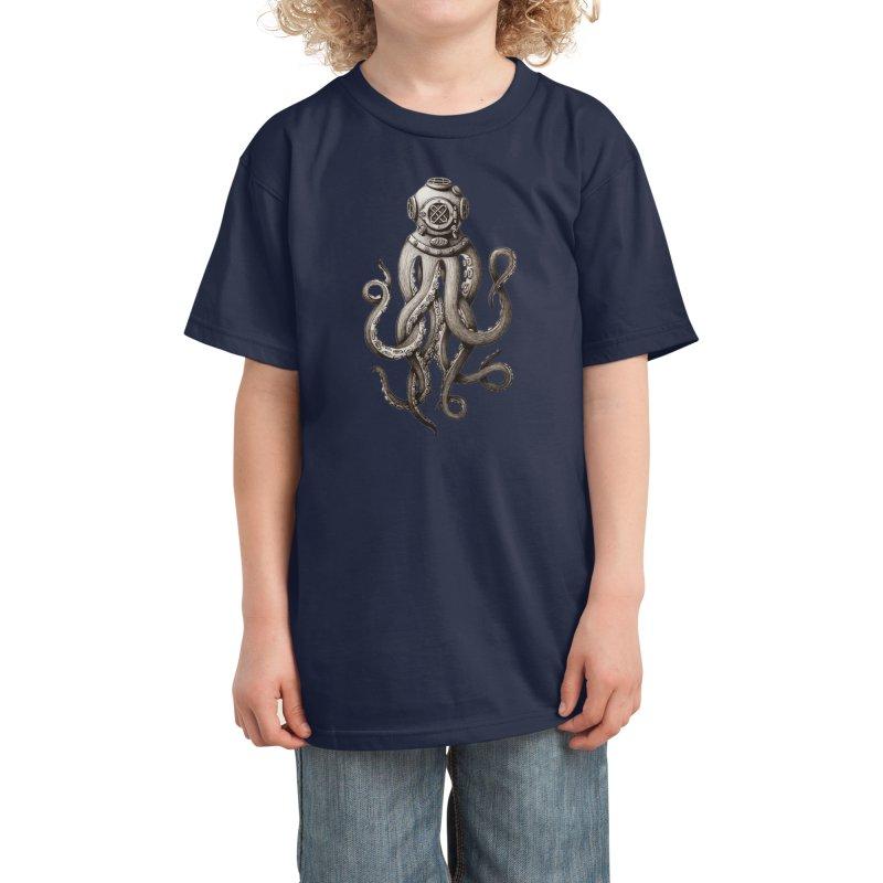 Retro SCUBA Diver Weird Octopus Kids T-Shirt by Designsonoma's Artist Shop