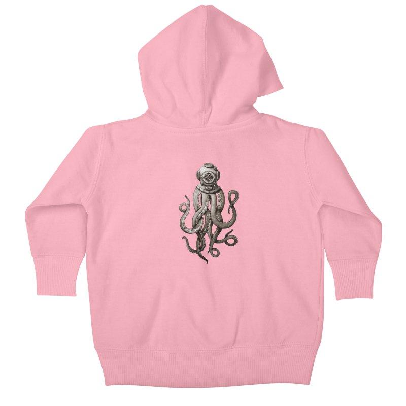 Retro SCUBA Diver Weird Octopus Kids Baby Zip-Up Hoody by Designsonoma's Artist Shop