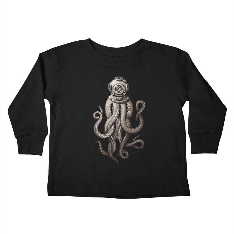 Retro SCUBA Diver Weird Octopus Kids Toddler Longsleeve T-Shirt by Designsonoma's Artist Shop