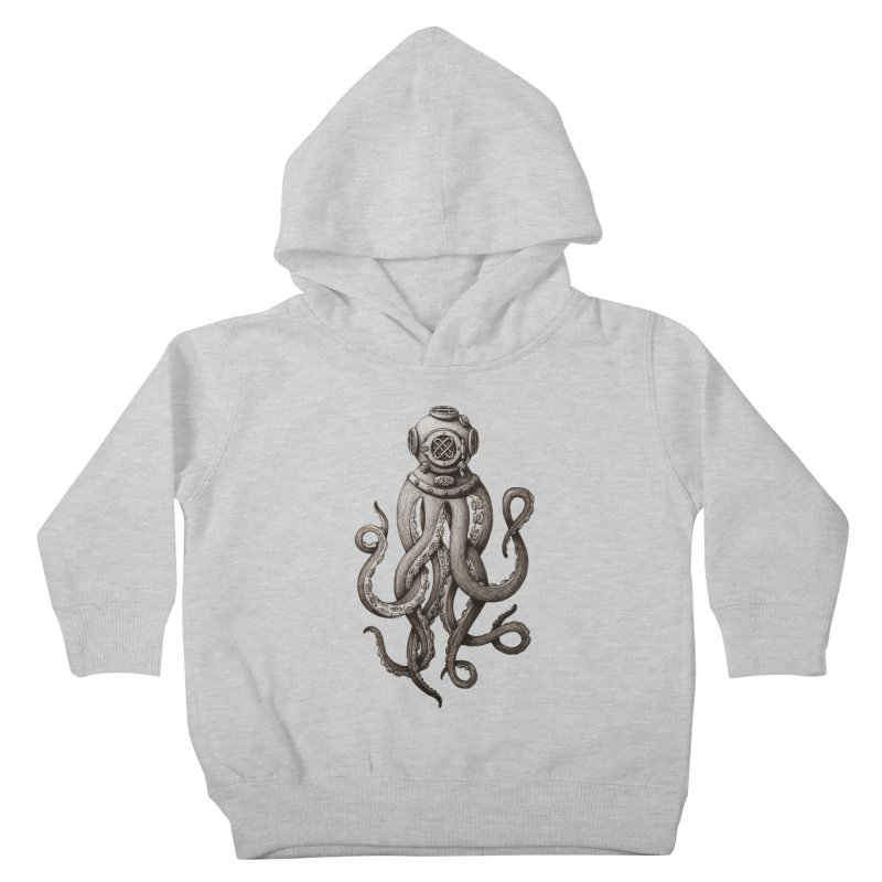 Retro SCUBA Diver Weird Octopus Kids Toddler Pullover Hoody by Designsonoma's Artist Shop