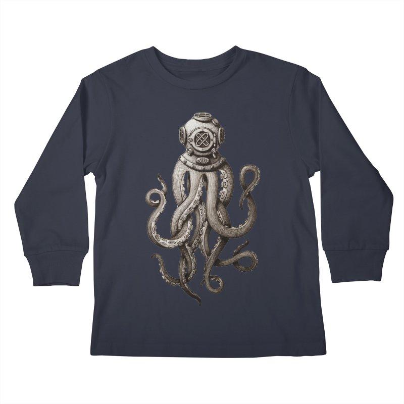 Retro SCUBA Diver Weird Octopus Kids Longsleeve T-Shirt by Designsonoma's Artist Shop