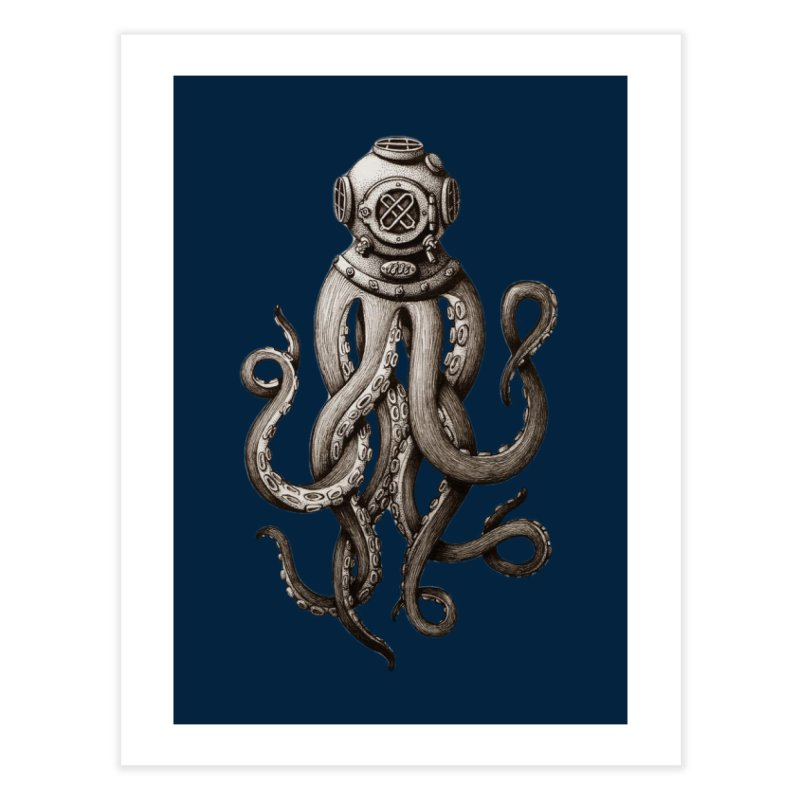 Retro SCUBA Diver Weird Octopus Home Fine Art Print by Designsonoma's Artist Shop
