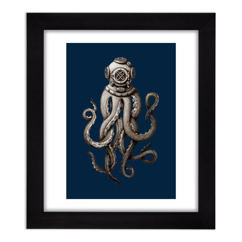 Retro SCUBA Diver Weird Octopus Home Framed Fine Art Print by Designsonoma's Artist Shop
