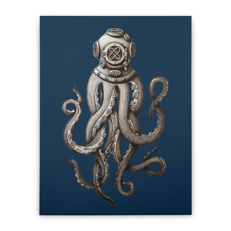 Retro SCUBA Diver Weird Octopus Home Stretched Canvas by Designsonoma's Artist Shop