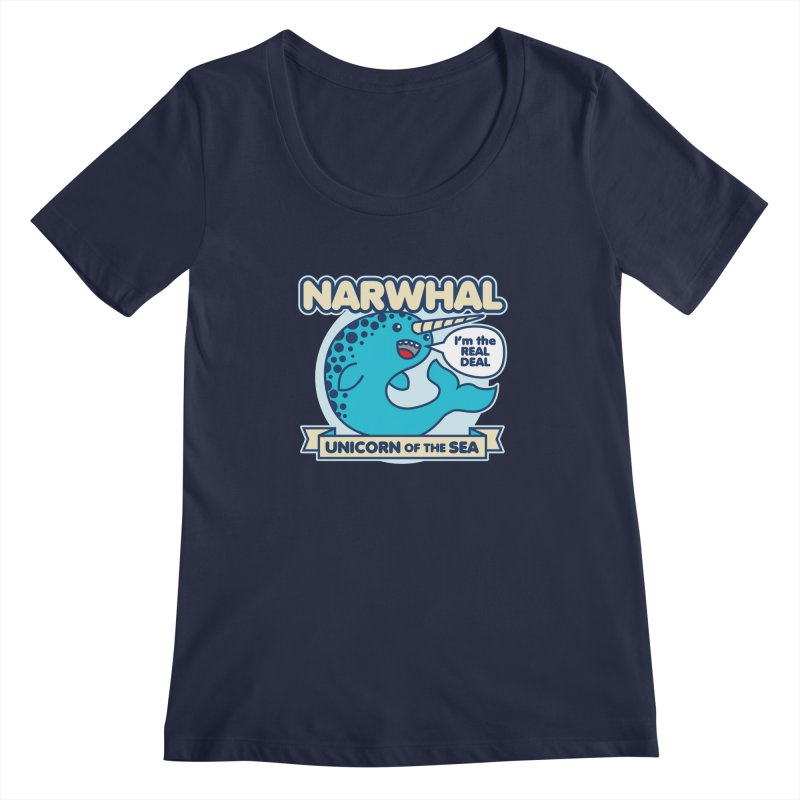 Narwhal Women's Scoopneck by detourshirts's Artist Shop