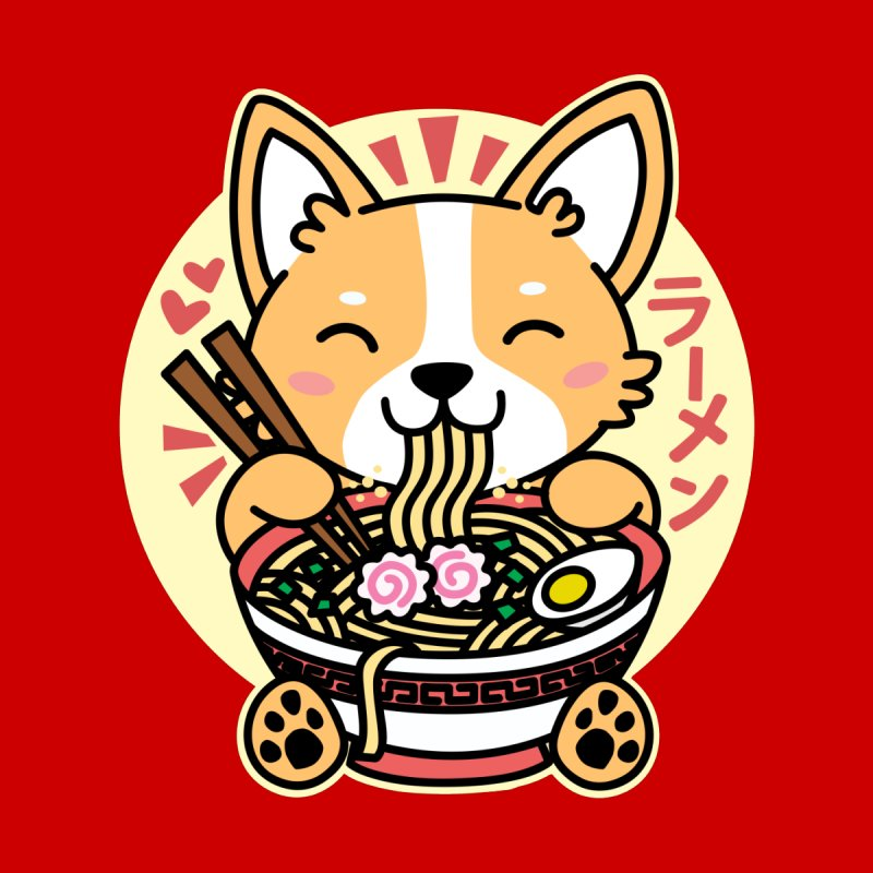 Corgi Eating Ramen Men's Sweatshirt by Detour Shirt's Artist Shop