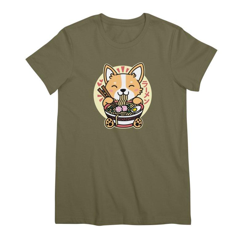Corgi Eating Ramen Women's Premium T-Shirt by Detour Shirt's Artist Shop