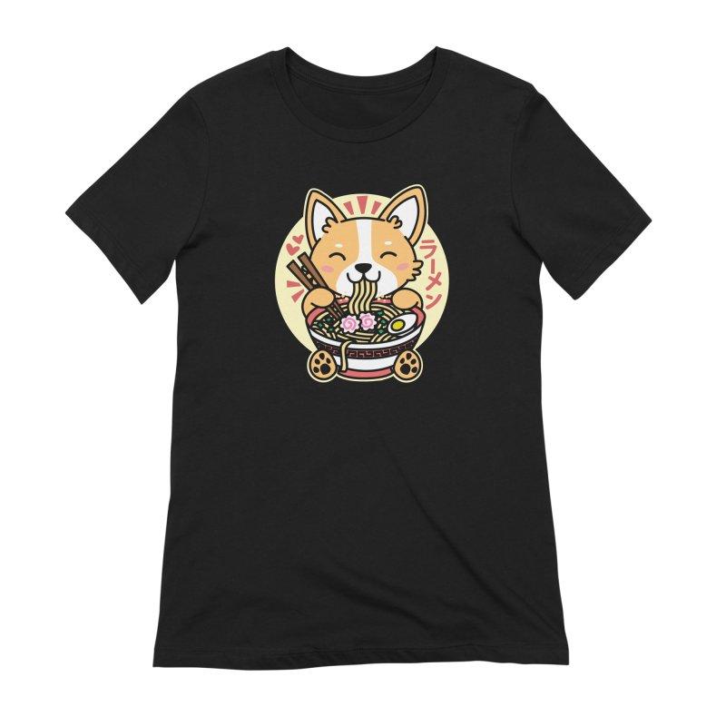 Corgi Eating Ramen Women's Extra Soft T-Shirt by Detour Shirt's Artist Shop