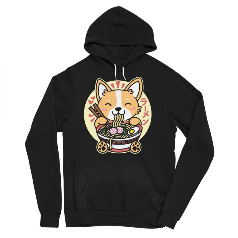 Corgi Eating Ramen Men's Sponge Fleece Pullover Hoody by Detour Shirt's Artist Shop