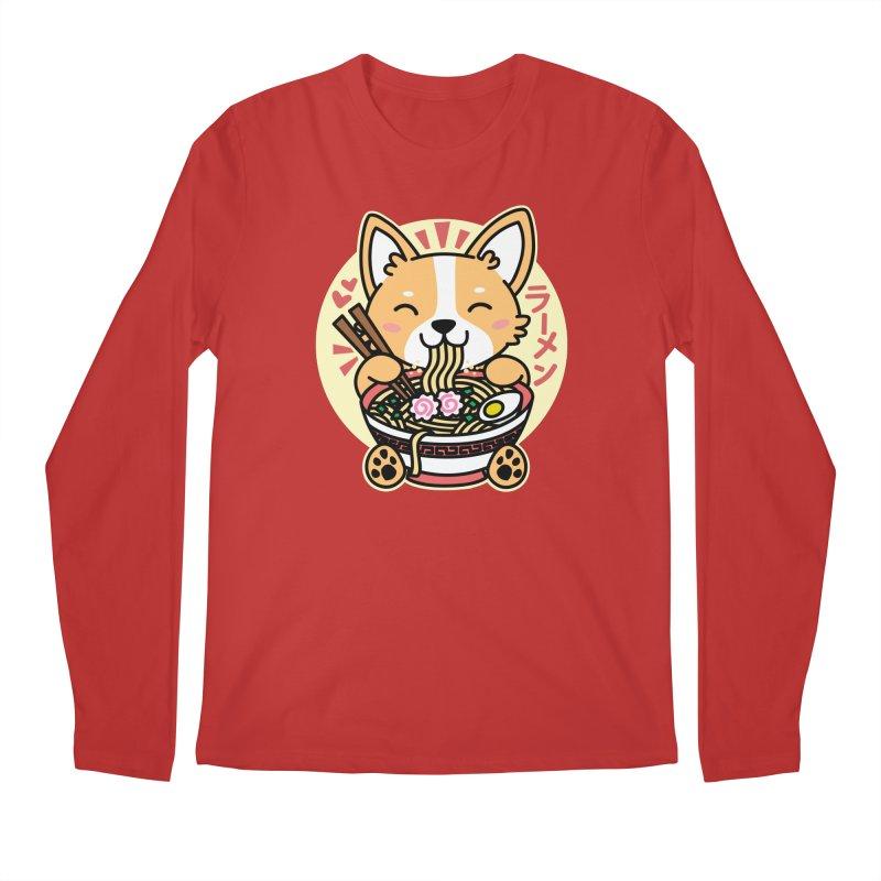 Corgi Eating Ramen Men's Regular Longsleeve T-Shirt by Detour Shirt's Artist Shop