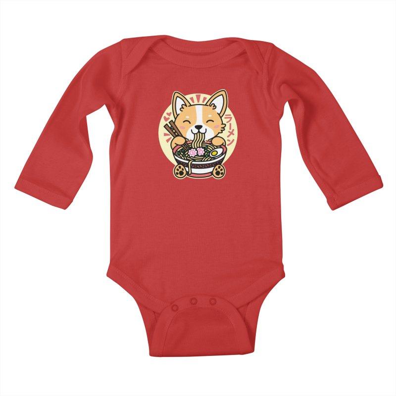 Corgi Eating Ramen Kids Baby Longsleeve Bodysuit by Detour Shirt's Artist Shop