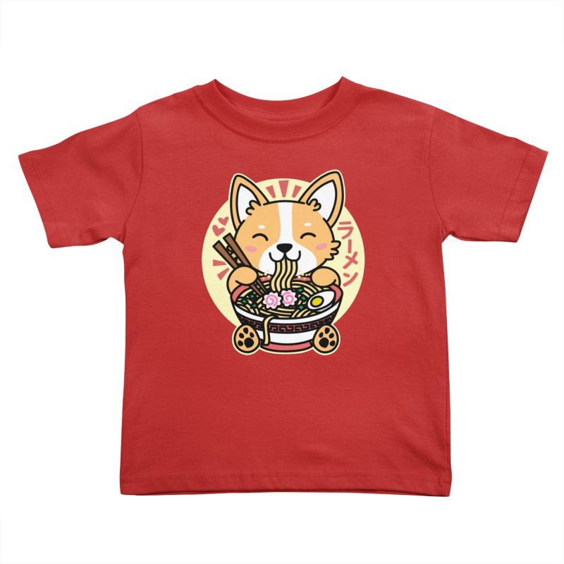 Corgi Eating Ramen Kids Toddler T-Shirt by Detour Shirt's Artist Shop