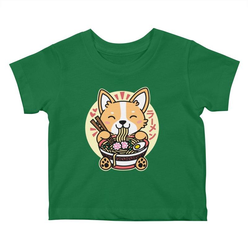 Corgi Eating Ramen Kids Baby T-Shirt by Detour Shirt's Artist Shop