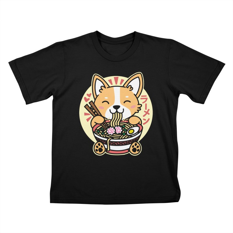 Corgi Eating Ramen Kids T-Shirt by Detour Shirt's Artist Shop