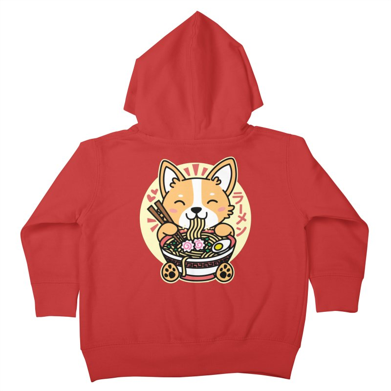 Corgi Eating Ramen Kids Toddler Zip-Up Hoody by Detour Shirt's Artist Shop