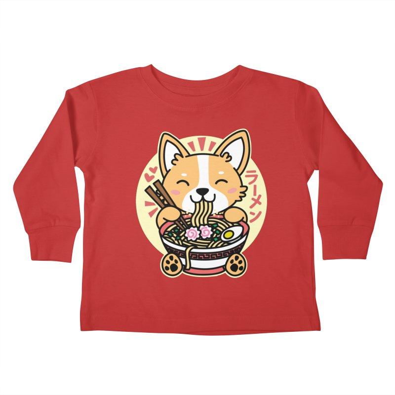 Corgi Eating Ramen Kids Toddler Longsleeve T-Shirt by Detour Shirt's Artist Shop