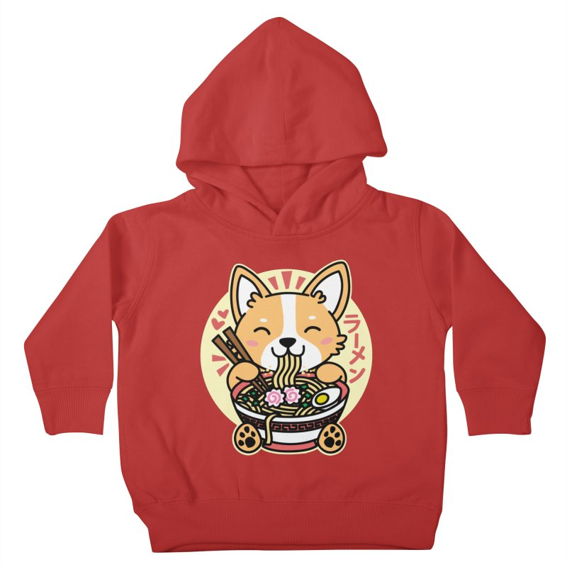 Corgi Eating Ramen Kids Toddler Pullover Hoody by Detour Shirt's Artist Shop