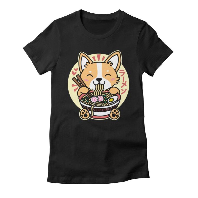 Corgi Eating Ramen Women's Fitted T-Shirt by Detour Shirt's Artist Shop