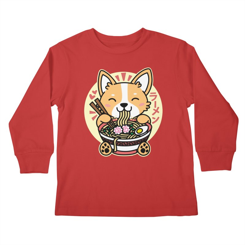 Corgi Eating Ramen Kids Longsleeve T-Shirt by Detour Shirt's Artist Shop