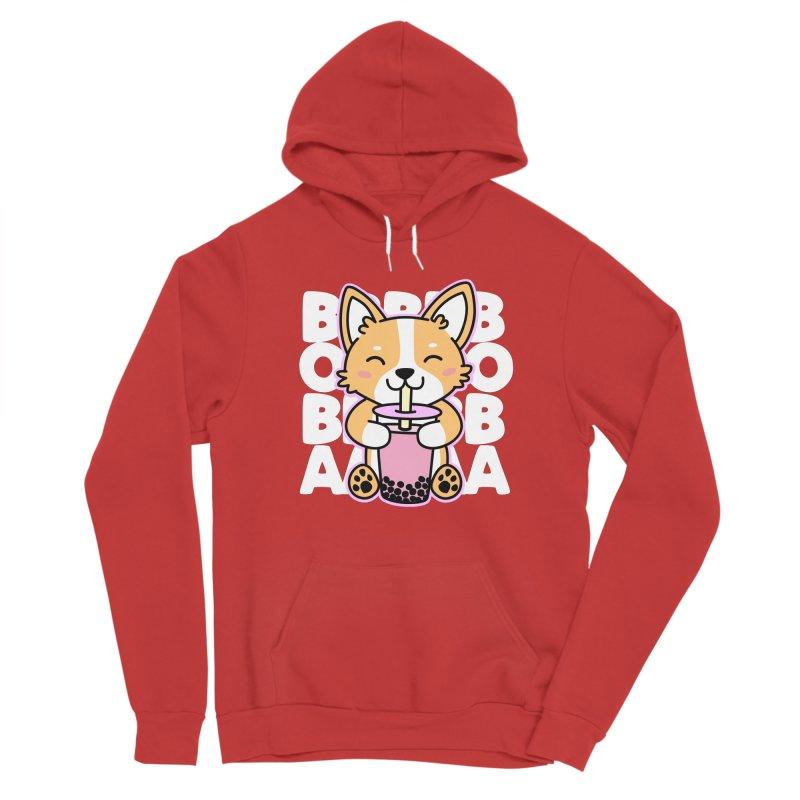 Corgi Drinking Boba Tea Women's Sponge Fleece Pullover Hoody by Detour Shirt's Artist Shop
