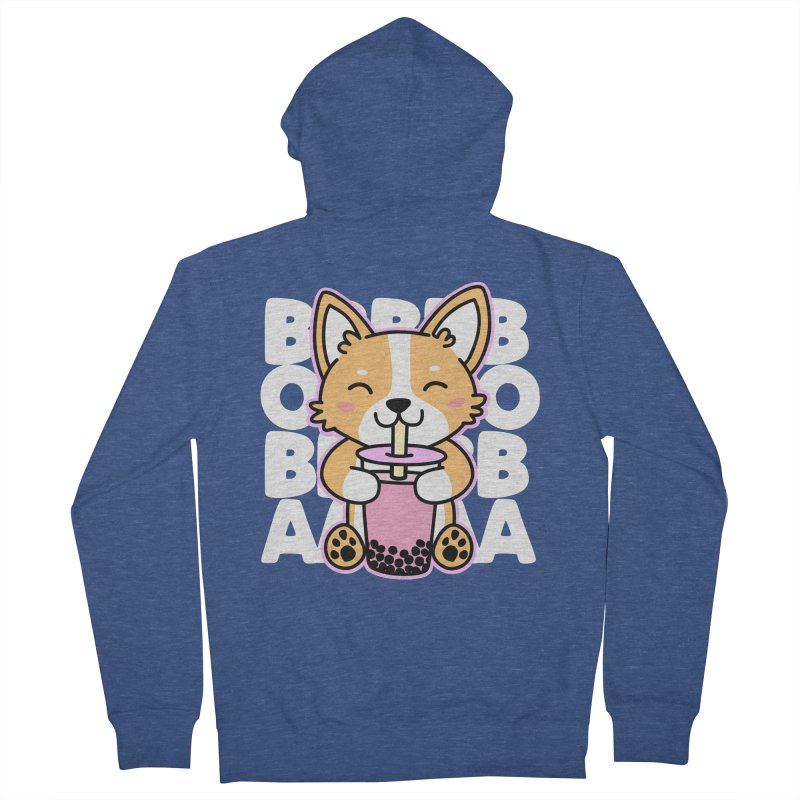 Corgi Drinking Boba Tea Women's French Terry Zip-Up Hoody by Detour Shirt's Artist Shop