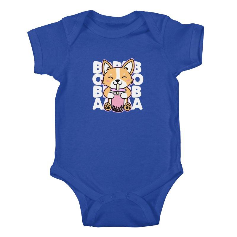 Corgi Drinking Boba Tea Kids Baby Bodysuit by Detour Shirt's Artist Shop