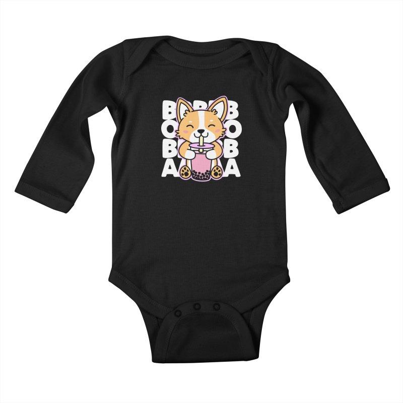 Corgi Drinking Boba Tea Kids Baby Longsleeve Bodysuit by Detour Shirt's Artist Shop