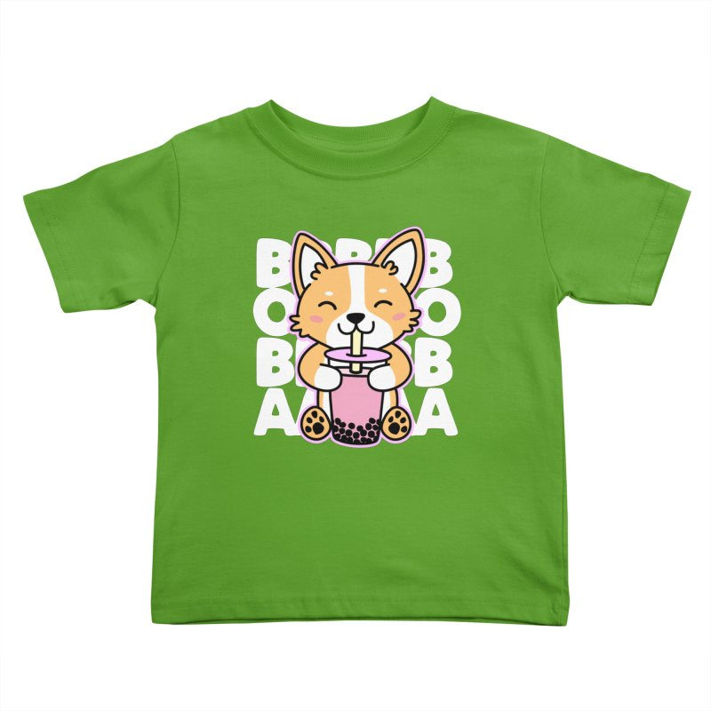 Corgi Drinking Boba Tea Kids Toddler T-Shirt by Detour Shirt's Artist Shop