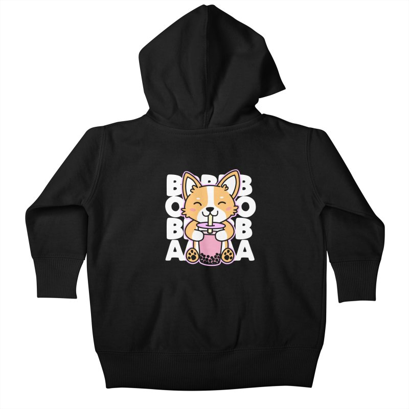 Corgi Drinking Boba Tea Kids Baby Zip-Up Hoody by Detour Shirt's Artist Shop