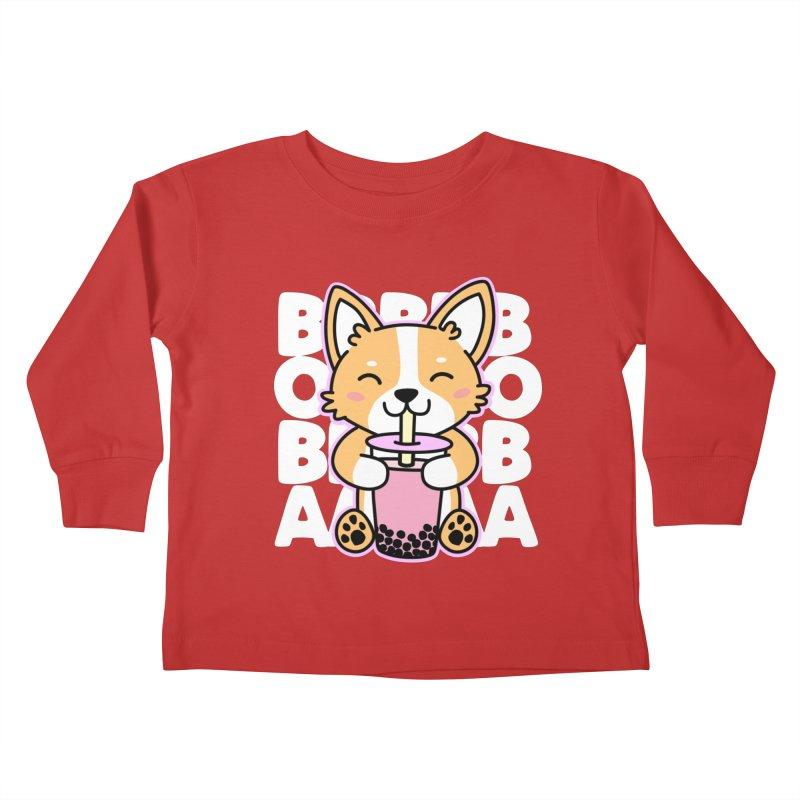 Corgi Drinking Boba Tea Kids Toddler Longsleeve T-Shirt by Detour Shirt's Artist Shop