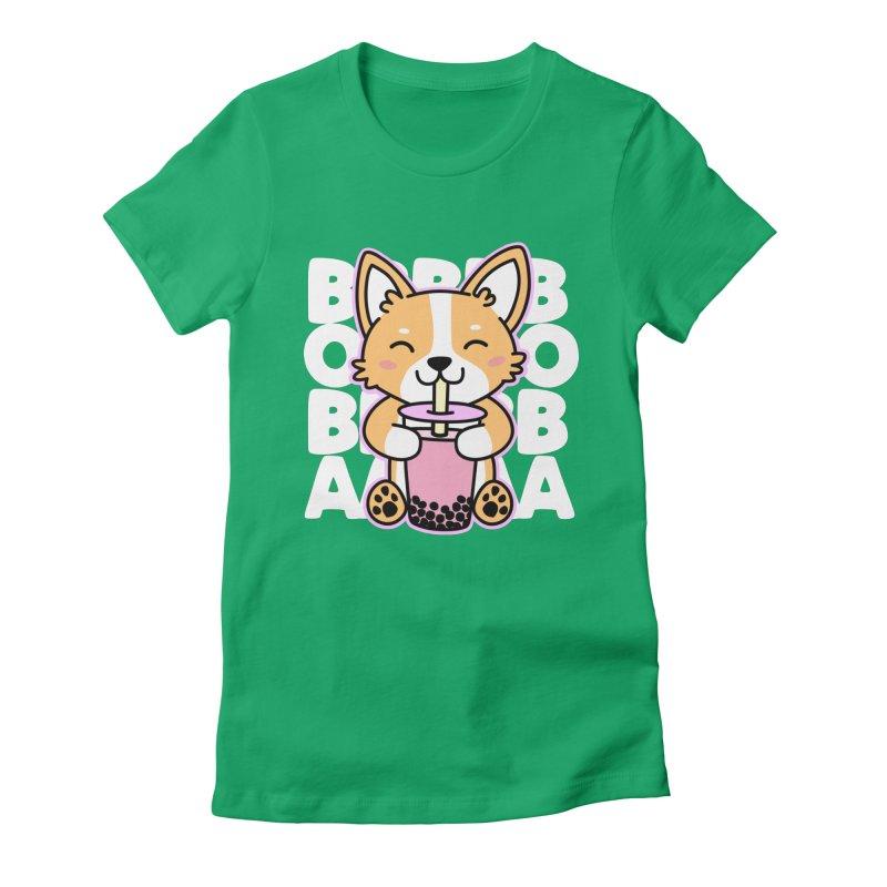 Corgi Drinking Boba Tea Women's Fitted T-Shirt by Detour Shirt's Artist Shop