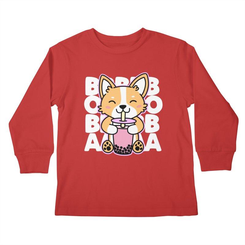 Corgi Drinking Boba Tea Kids Longsleeve T-Shirt by Detour Shirt's Artist Shop
