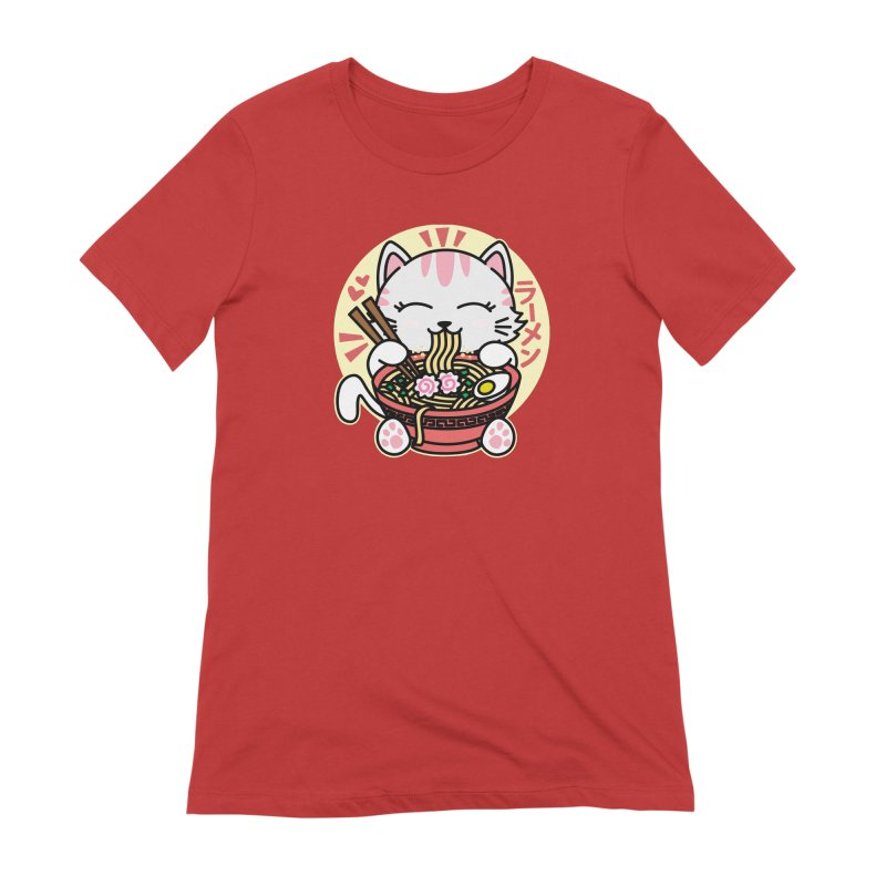Cat Eating Ramen Women's Extra Soft T-Shirt by Detour Shirt's Artist Shop