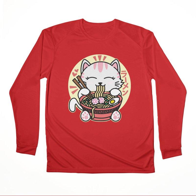 Cat Eating Ramen Women's Performance Unisex Longsleeve T-Shirt by Detour Shirt's Artist Shop
