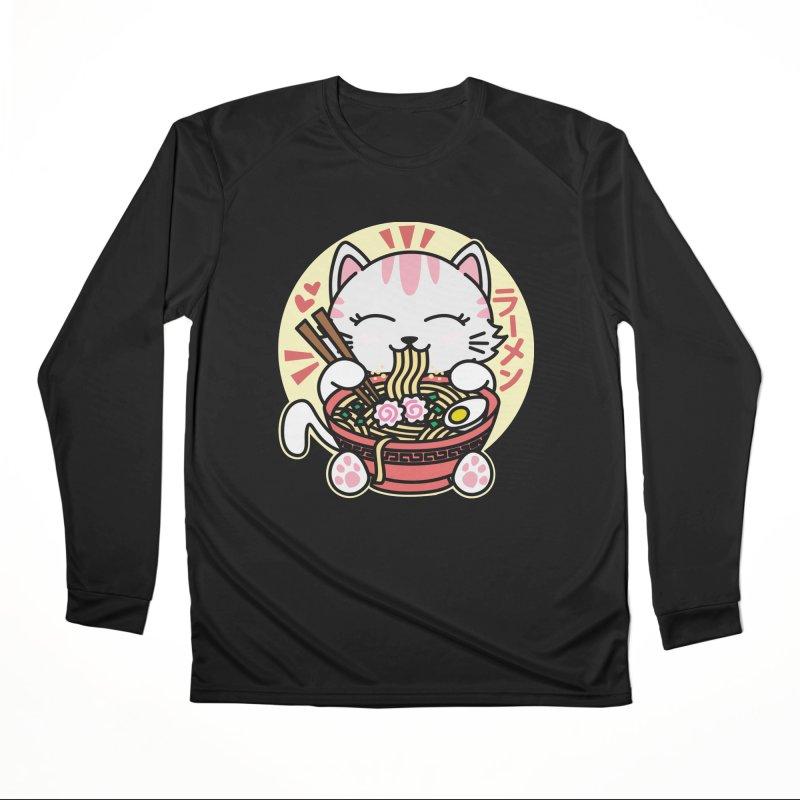 Cat Eating Ramen Men's Performance Longsleeve T-Shirt by Detour Shirt's Artist Shop