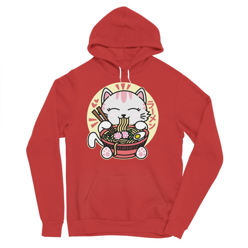Cat Eating Ramen Men's Sponge Fleece Pullover Hoody by Detour Shirt's Artist Shop