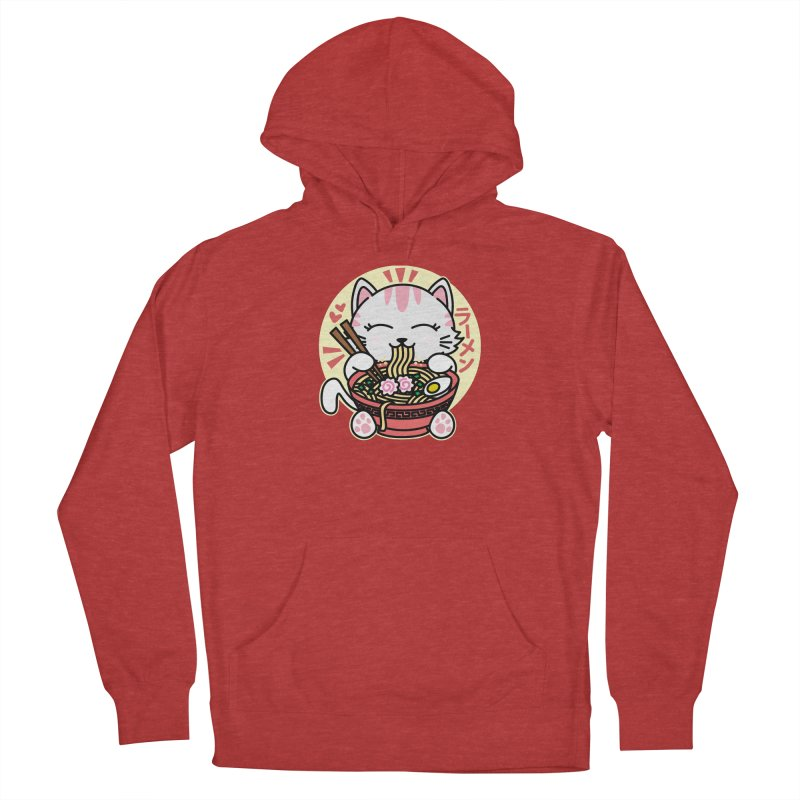 Cat Eating Ramen Men's French Terry Pullover Hoody by Detour Shirt's Artist Shop