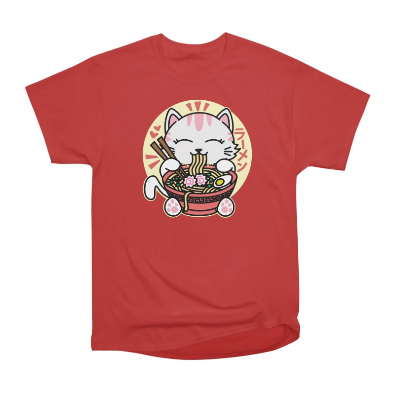 Cat Eating Ramen Women's Heavyweight Unisex T-Shirt by Detour Shirt's Artist Shop
