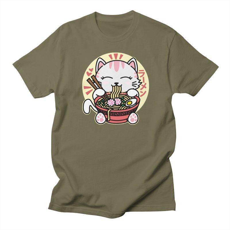 Cat Eating Ramen Women's Regular Unisex T-Shirt by Detour Shirt's Artist Shop