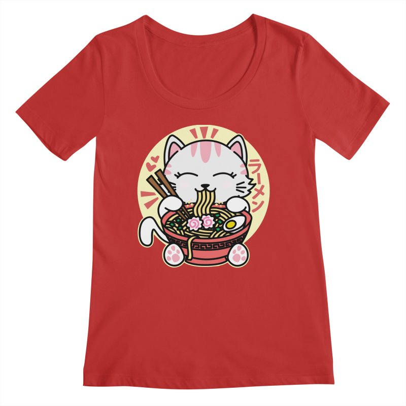 Cat Eating Ramen Women's Regular Scoop Neck by Detour Shirt's Artist Shop