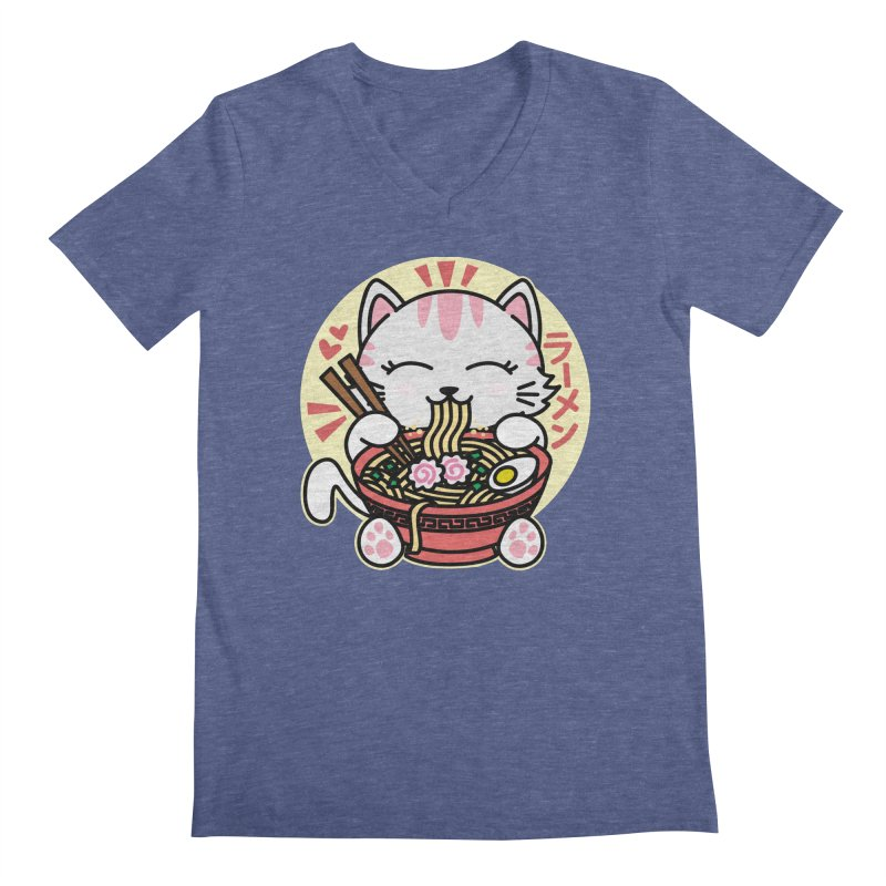 Cat Eating Ramen Men's Regular V-Neck by Detour Shirt's Artist Shop