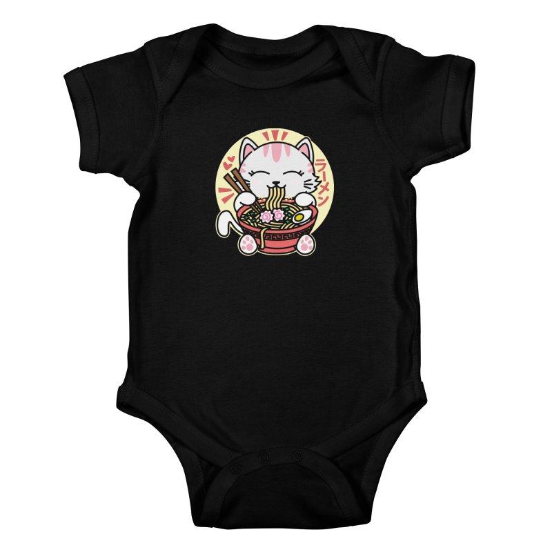 Cat Eating Ramen Kids Baby Bodysuit by Detour Shirt's Artist Shop