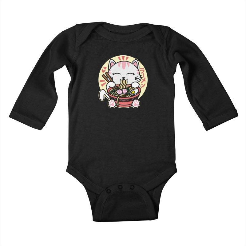 Cat Eating Ramen Kids Baby Longsleeve Bodysuit by Detour Shirt's Artist Shop
