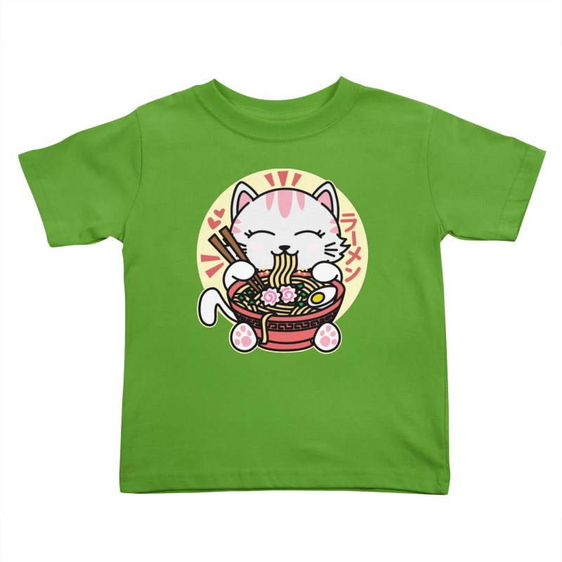 Cat Eating Ramen Kids Toddler T-Shirt by Detour Shirt's Artist Shop