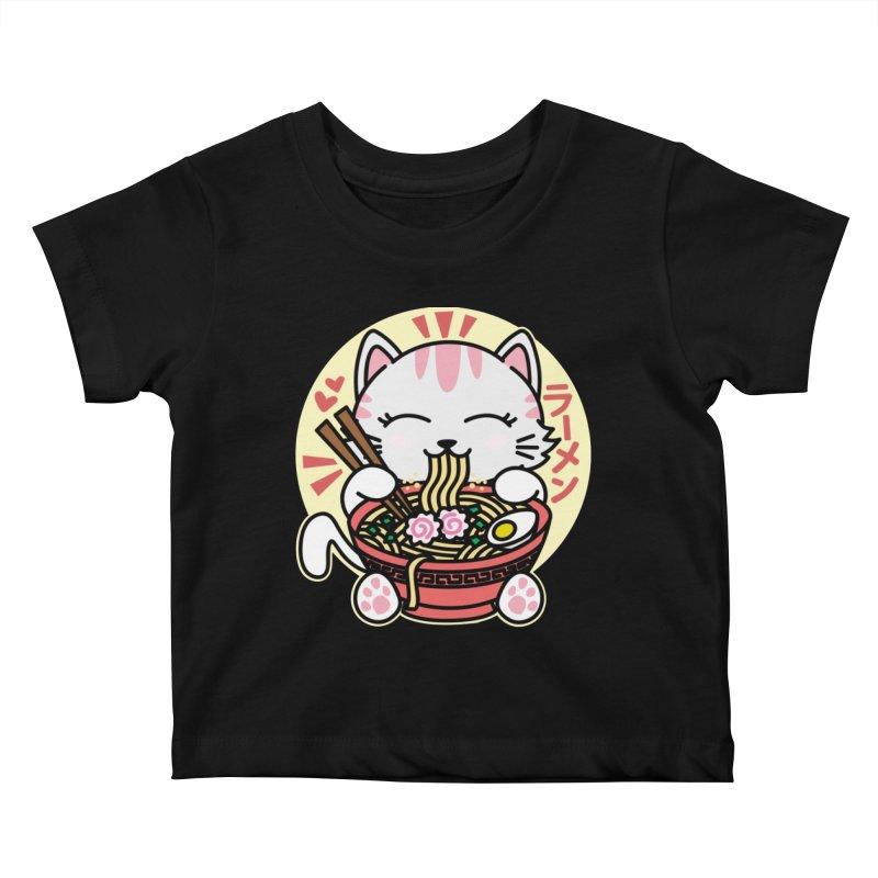 Cat Eating Ramen Kids Baby T-Shirt by Detour Shirt's Artist Shop